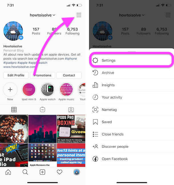 Instagram profile settings on iPhone instagram app