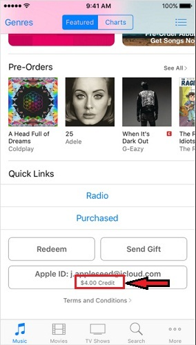 how to view iTunes Gift Card balance on iPhone 5s