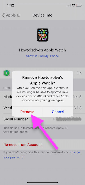 Remove apple watch from iPhone icloud account