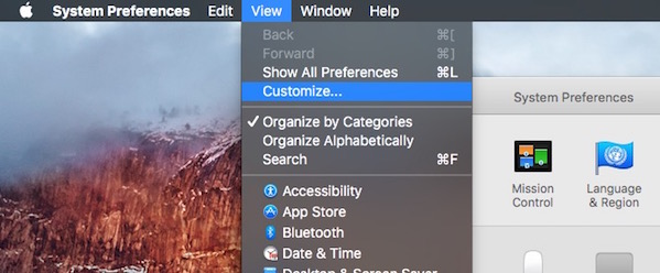 Mac OS X System preference customize menu