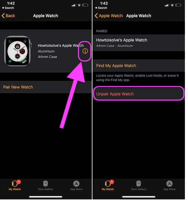 Unpair Apple watch from iPhone Watch app