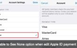 can't see None option when edit Apple ID payment info