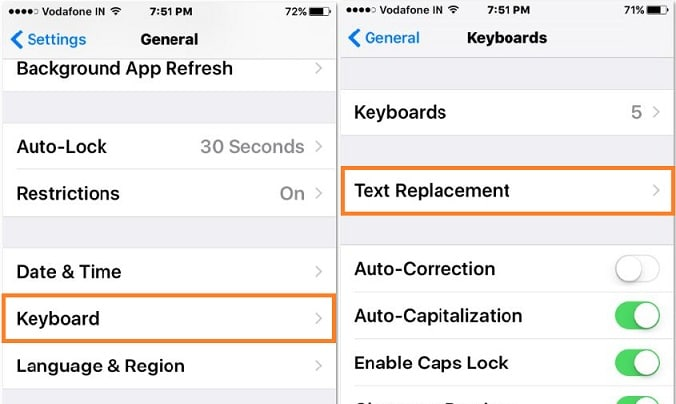 1 Keyboard setting on iPhone