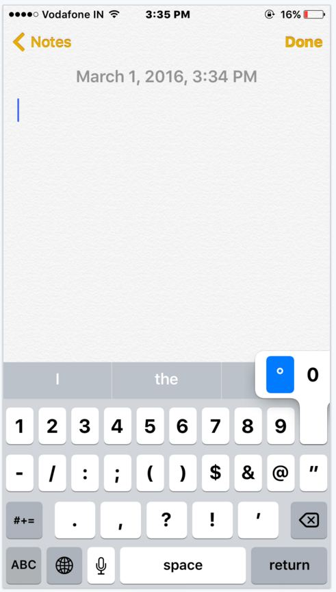How to type degree symbol from iPhone iPad iOS device