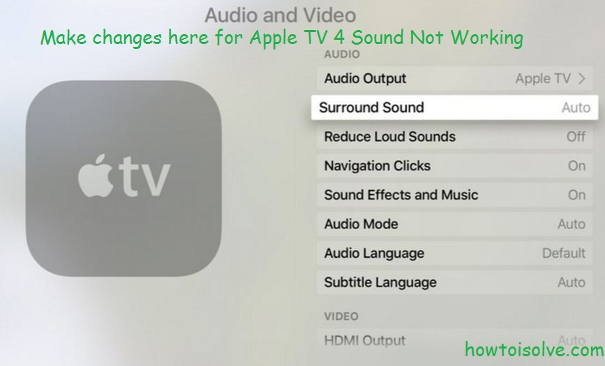 Settings on Apple TV 4 sound not working or stopper