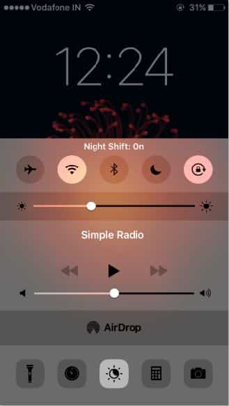 Turn on night shift from control center