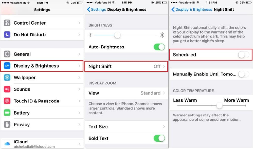 Night shift turn on automatically on iPhone SE