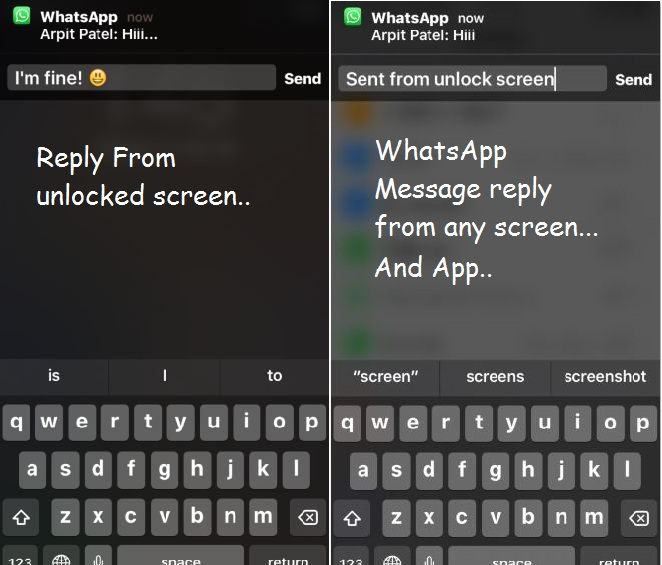 Reply WhatsApp Message from any screen