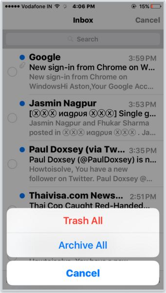 Trash all mail from inbox