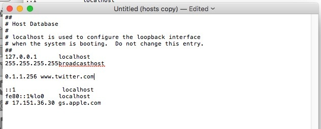 New copy of host file on Mac