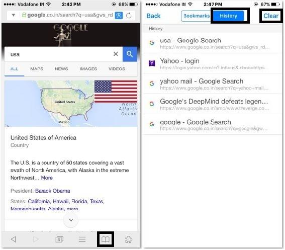 history settings on Mercury iPad app