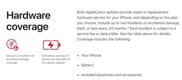 AppleCare+ and AppleCare+ with Theft and Loss Protection Hardware Coverage