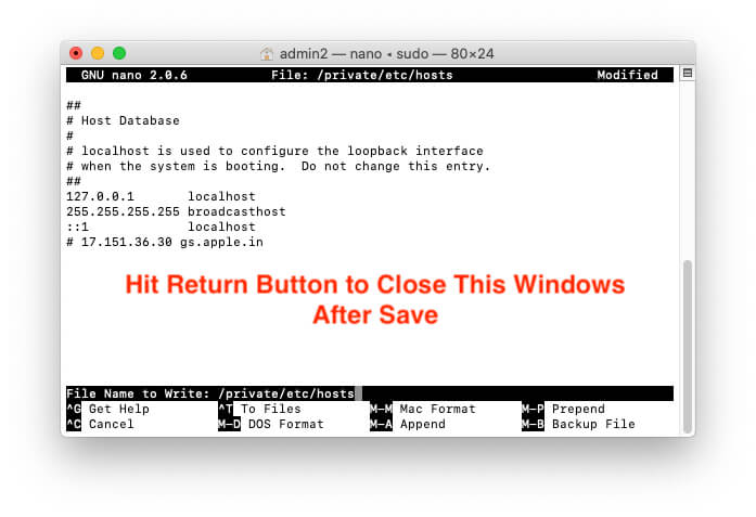 Hit Return button to Exit host file window