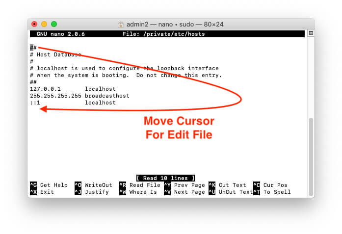 Move Cursor in Host file to Edit on Host file on Mac