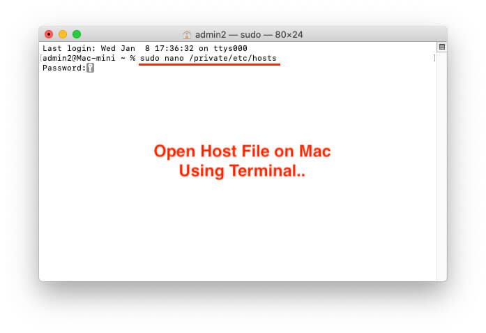 Open Host file on Mac using Terminal and Direct Edit