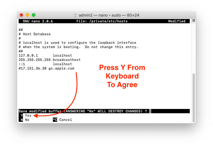 Press Yes to Agree host file
