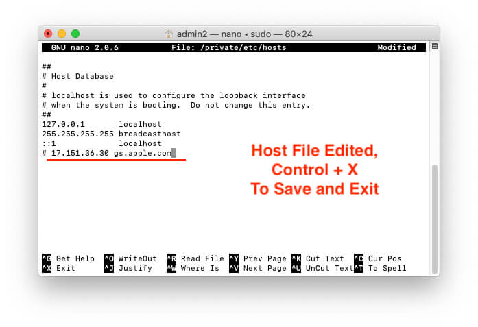 Save and Exit from host file on Mac