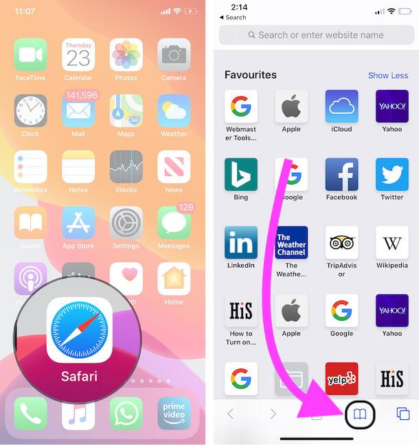 Tap on Safari Bookmark section on Safari iPhone, iPad