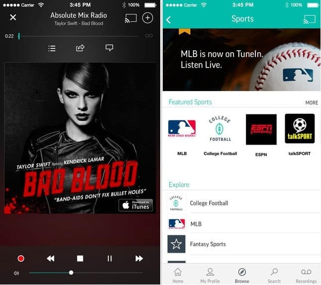 TuneIn Radio Pro best online radio app for iPhone, iPod touch, Apple watch 2016