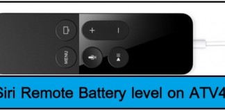 Siri remote Battery level on apple tv 4
