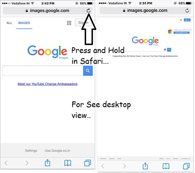 Mobile view and desktop view in iPhone browser
