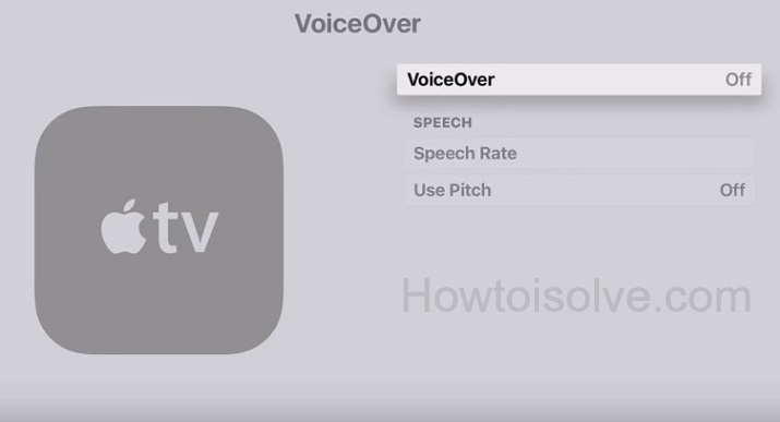 turn off VoiceOver on Apple TV 4