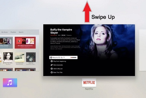 Swipe up on touch surface of remote to force quit the Netflix app