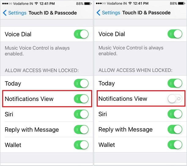 How to disable notification center iPhone locked screen