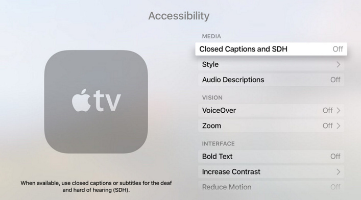 Turn Off Closed caption on Apple TV 4 2015