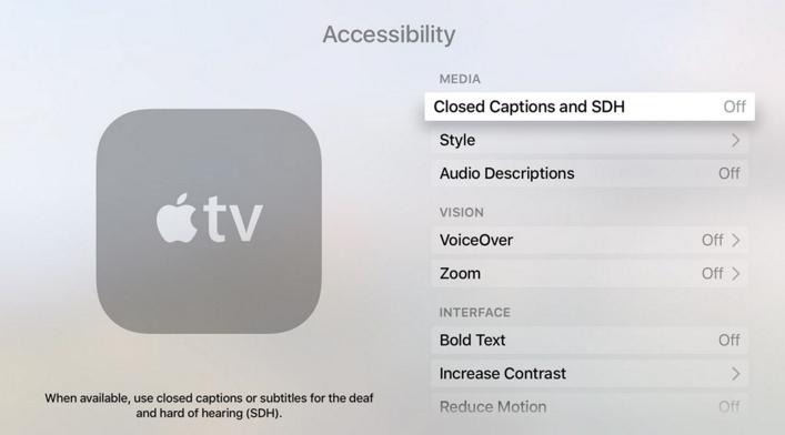 Turn Off Closed caption on Apple TV 4 2015