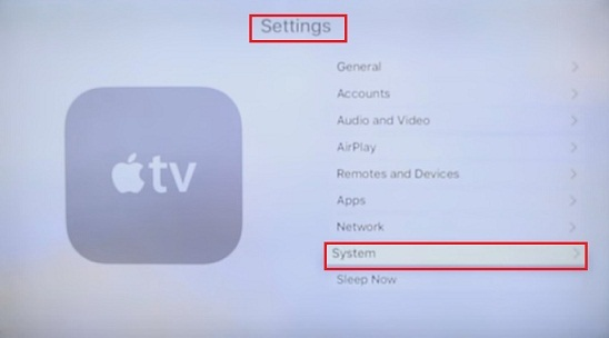 go to Settings Apple tv 4