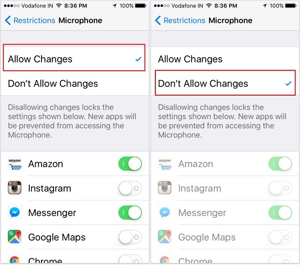 stop access iPhone microphone for third-party apps