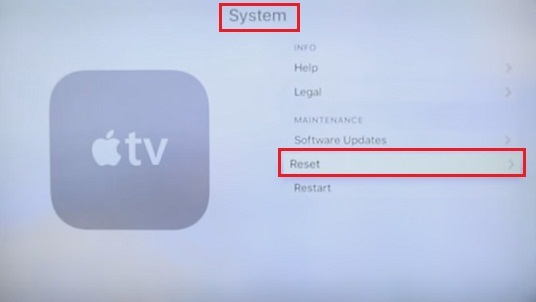 go to apple tv 4 System screen