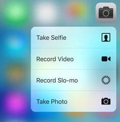 3D touch option on camera app