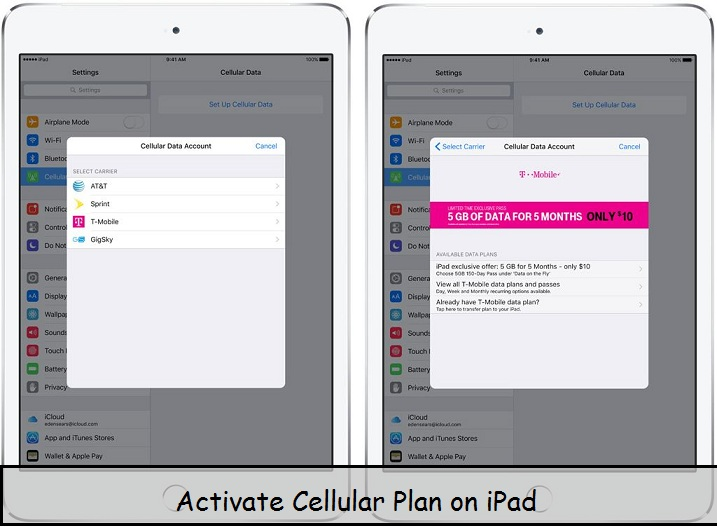 Activate cellular plan on iPad pro, Air and Mini