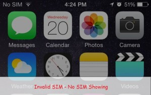 Invalid SIM or No SIM showing on iPhone, iPad: Installed Card