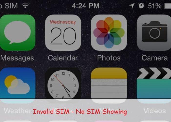 Invalid SIM or No SIM showing on iPhone, iPad