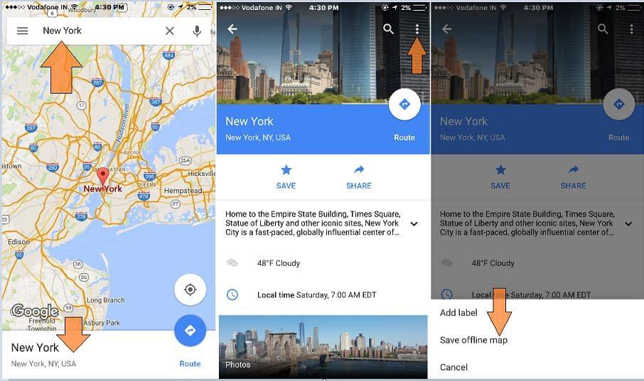 Google map offline on iPhone, iPad
