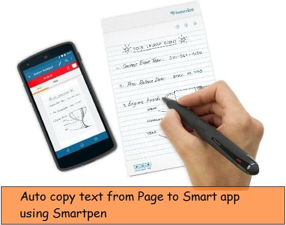 Smartpen for iPhone note app, copy text to app
