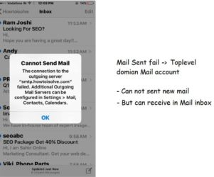 Cannot send Mail from iPhone, iPad