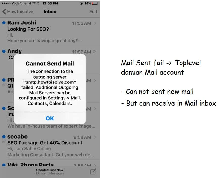 Cannot Send Email From iPhone Mail App, Outgoing Server Failed