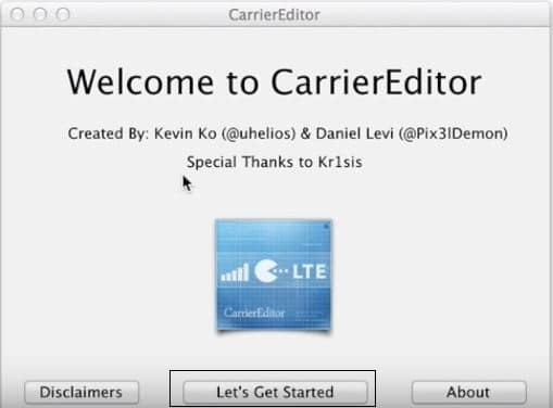 Start setup for update carrier logo on iPhone from Mac
