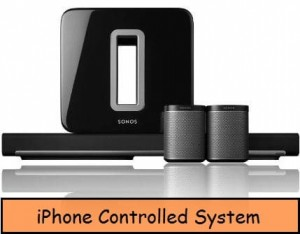 iPhone controlled home theater system for home, office