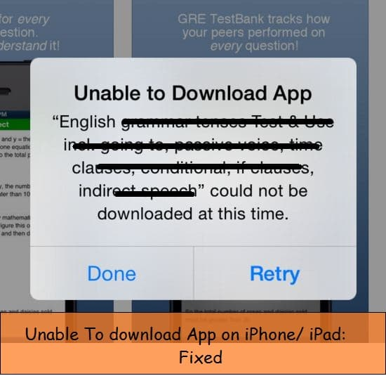 Unable to download application error on iPhone, iPad