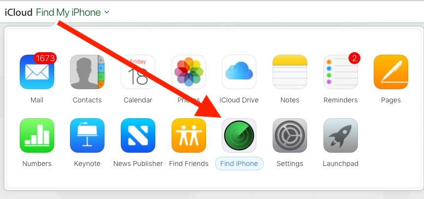 2 Find My iPhone on iCloud.com web