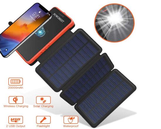 20000mAh Solar Power Bank for iPhone, iPad