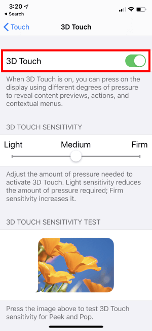 3D Touch not working on iPhone