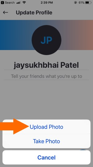 4 Upload Skype profile picture on iPhone from camera roll