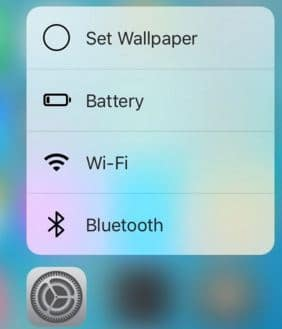 Settings app option in 3D Touch popup
