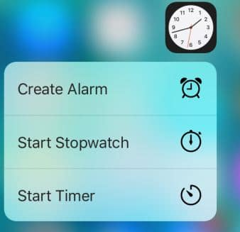 Clock app with 3D touch option